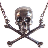 Skull And Bones Necklace by Gasoline Glamour (Silver Toned)