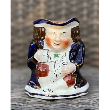 Antique English Staffordshire Allerton's Blue Toby Jug  Small