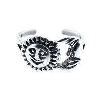 Sterling Silver Toe Ring Sun & Moon, One Size Fits All