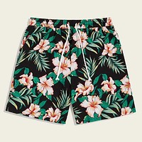 Men Tropical Print Drawstring Waist Shorts