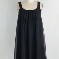 LBD Mid-length Sleeveless Shift How Bows It? Dress in Black by ModCloth