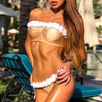 Summer New Fashion Floral Strapless Two Piece Bikini Swimsuit