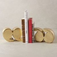 Quotation Marks Bookends by Anthropologie in Gold Size: Set Of 2 Bookends