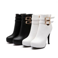 Buckle Zipper High Heels Ankle Boots Women Shoes New Arrival