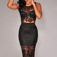 Black Sheer Floral Lace Cut Out Dress