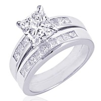 1.50 Ct Princess Cut Diamond Engagement Wedding Rings Channel Set 14K Gold
