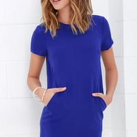 Have a Good One Royal Blue Shift Dress