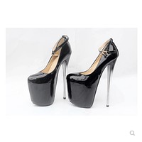 Spring new super high-heeled 20cm single shoes 22cm nightclub sexy 16cm patent l