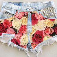 ANY COLOR Ripped Frayed Roses Studded Denim High-Waisted Shorts (UV11)