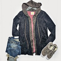 Charcoal and Mocha Hooded Sweater Cardigan