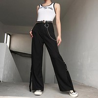 Women Solid Color Fashion High Waist Suit Flares Leisure Pants Trousers
