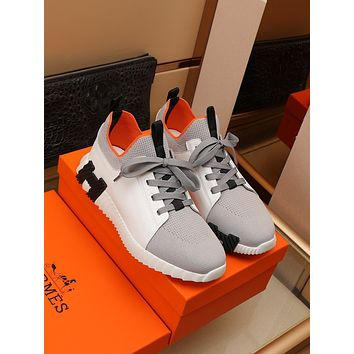 HERMES  2021 Men Fashion Boots fashionable Casual leather Breathable Sneakers Running Shoes09020qh