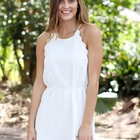Scallop Tank Tie Dress - White
