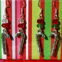 Silver Tone Candy Cane Earrings Christmas Dangles with Glass Bead Accent in Choice of Green and Red or Red and White