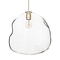 XL Clear Bubble Hand Blown Glass Chandelier Pendant Light- Brushed Nickel