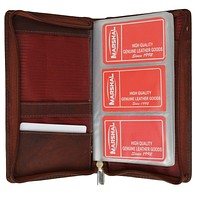Genuine Leather Zip Around Large Business Credit Card Holder 3670 CF (C)