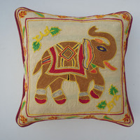 Suzani Mughal Embroidery Cotton Cushion Cover, Elephant Print Cushion Cover, Suzani Pillow, Handmade Cushion Cover Suzani Embroidery