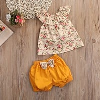 Toddler Baby Girl Clothing Sets Summer Sleeveless Print Top + shorts 2pcs Girl Sets Infant Outfits 0-3T