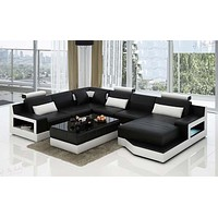 Luxurious Superfluous Modern Leather Sectional Sofa Set