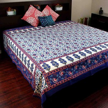 Cotton Floral Bedspread Queen Tablecloth Tapestry Beach Sheet Blue Orange