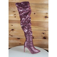 "Beverly Purple Glitter Fabric Slouch Shaft Thigh High 4.5"" Heel Boot 7-11"