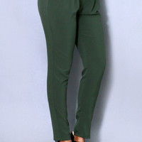Casual Pleated Pants Olive