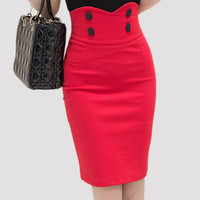 2016 High Elastic Women Skirts Sexy Slim Solid Color Black Red Double Button high waist Pencil Skirts for women Size 5XL