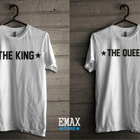 King Queen Couples Shirts, The King and The Queen Unisex Tees, 100% Cotton Matching T-shirts Set