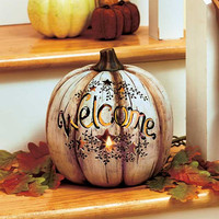 Pumpkin Lighted Country Welcome Harvest Autumn Fall Ceramic