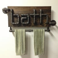 """Industrial Black Iron Pipe Bathroom Towel Holder the the """"Ostertag"""""""
