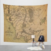 Map of Middle Earth Wall Tapestry by Rachel Bradford