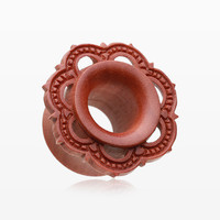 A Pair of Flora Filigree Sawo Wood Organic Ear Gauge Tunnel Plug