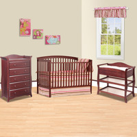Storkcraft 3 Piece Nursery Set - Bradford 4 in 1 Convertible Crib, Aspen Changing Table and Aspen 5 Drawer Dresser