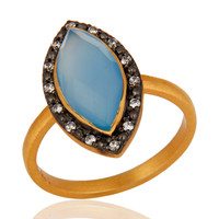 Designer Gold Vermeil Sterling Silver Blue Chalcedony Gemstone Ring With cz