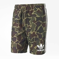 Adidas Summer Trending Men Leisure Print Camouflage Sports Running Shorts