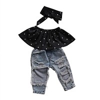 Girls clothes set summer black blouse ripped denim pants baby girl clothing set outfits kids clothes suit holes