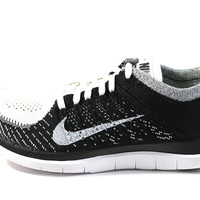 Nike Men's Free Flyknit 4.0 White/Black Running Shoes 631053 100