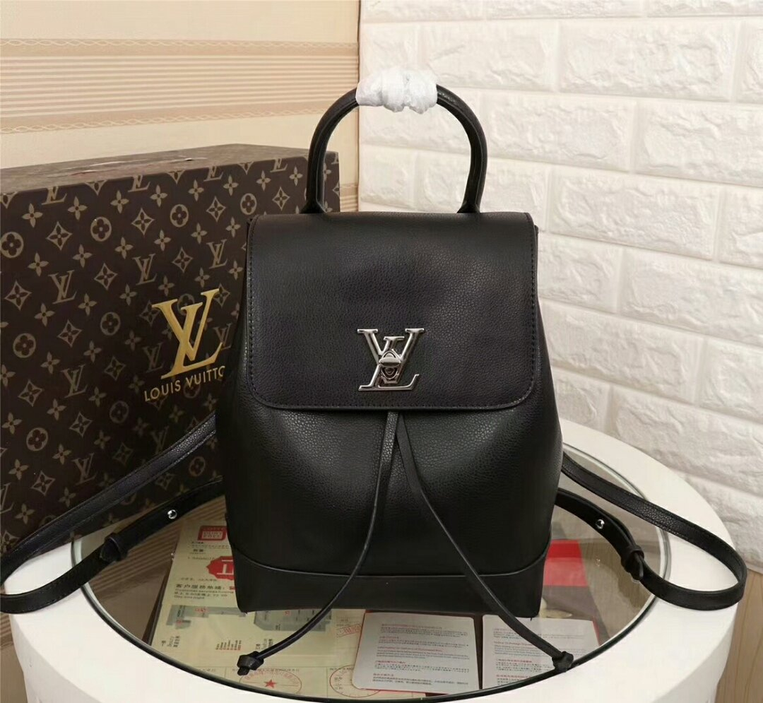 Image of LV Louis Vuitton LEATHER LOCKME BACKPACK BAG