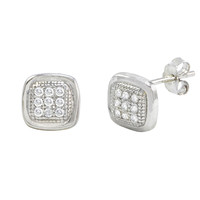 Sterling Silver Micropave Stud Earrings Rounded Square Clear CZ 7mm x 7mm