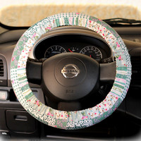 Steering-wheel-cover-for-wheel-car-accessories-Floral-green-Wheel-cover