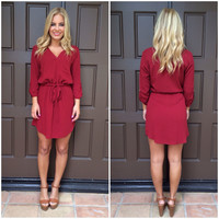 Drawstring 3/4 Sleeve Dress - BURGUNDY