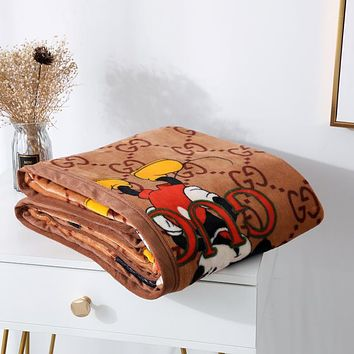 GG Hot Sale Full Printed Retro Blanket D Home Coral Fleece Thickening Blanket Adult Single Bed Blanket