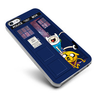 Adventure Time Jake Fin Doctor Who Tardis Galaxy Nebula - For Samsung Galaxy S3 / S4 and IPhone 4 / 4S / 5 / 5S / 5C Case