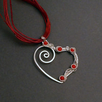 Coral heart pendant, love pendant, red silver heart pendant, wire wrapped pendant necklace, gift for her