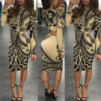 2016 Trending Fashion Floral Printed Women Backless Long Sleeve Package Hip Sexy Erotic  One Piece Dress  _ 10203