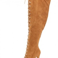 Tan Lace Up Thigh High Peep Toe Boots Faux Suede