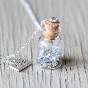 Tiny Bottle Necklace : Little Jar, Wish in a Bottle, Wish Necklace, Silver Glitter, Long Necklace, Statement Necklace, Artisan Tree, Boho