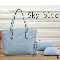 Coach women tide card three-piece leather handbag shoulder bag F-KSPJ-BBDL Sky blue