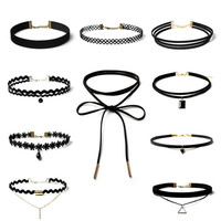 2016 New Brand Punk chockers Necklace Women Black velvet Lace for womens Choker Necklaces Jeffreeing Star