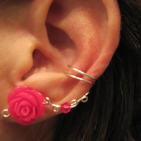 """Non Pierced Ear Cuff  """"Desert Rose"""" Cartilage Conch Cuff Color Choices Some Rose COLORS are On Back Order"""